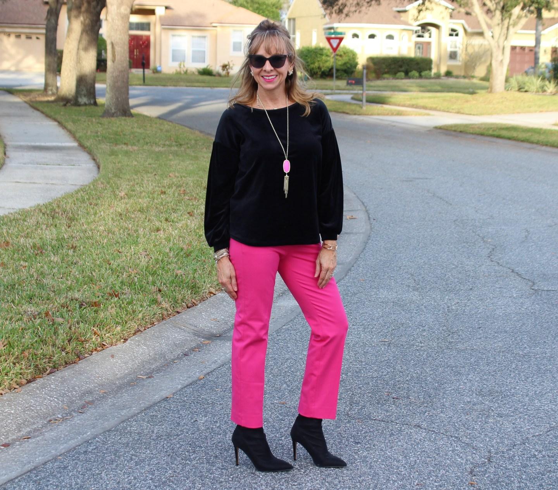 Black Velvet top + Hot Pink Pants + Black Sock Booties