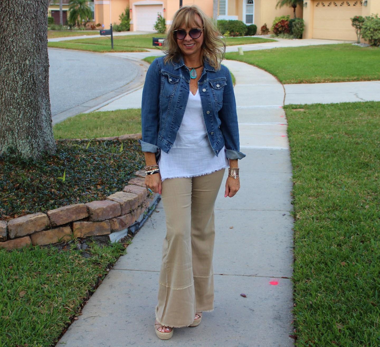 XCVI Erin Flare Leg Pant + XCVI Linen Tank + Denim Jacket