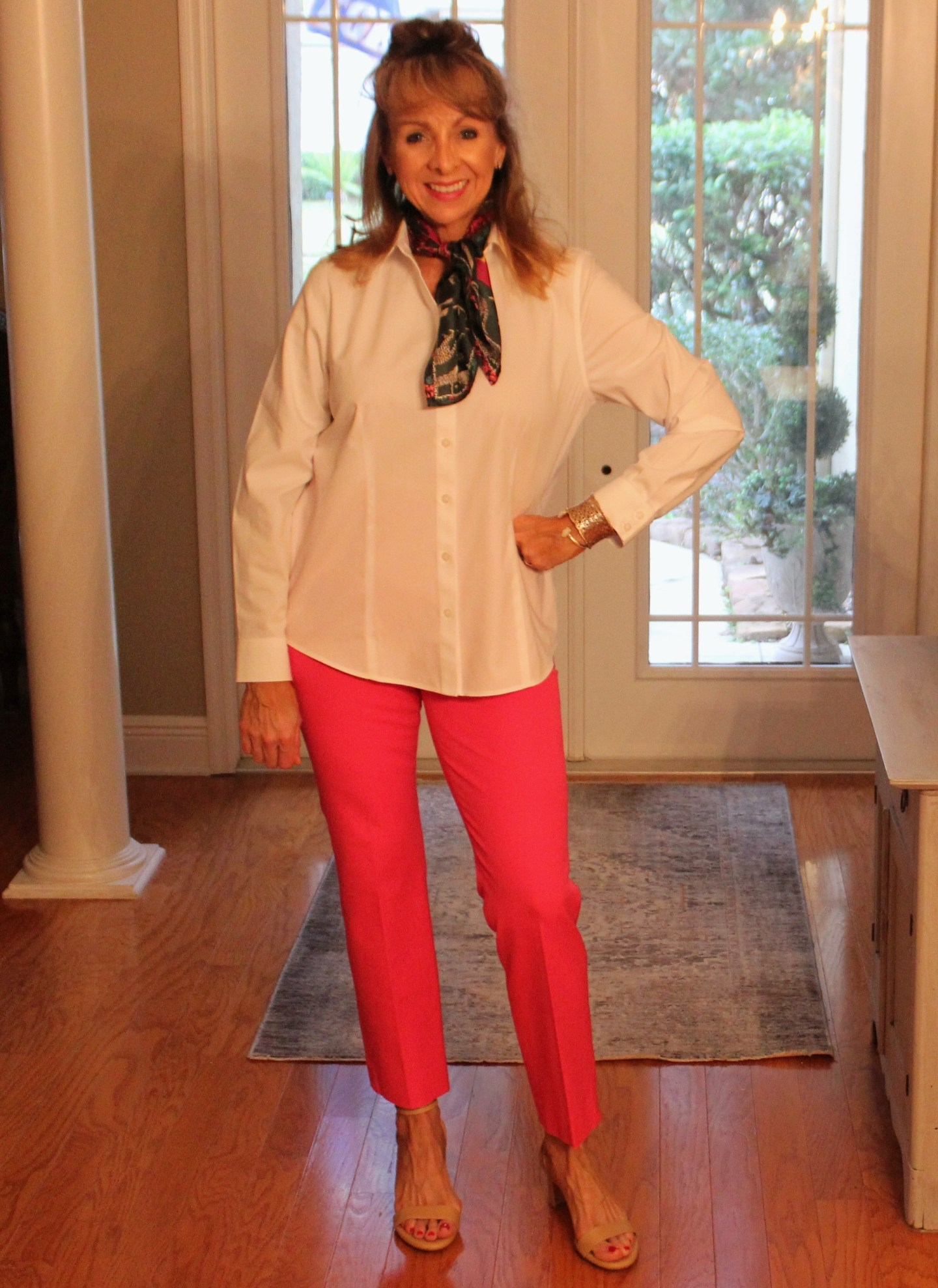 Chico's white shirt + JCrew Hot Pink Pants + Sarah Flint Perfect Sandals