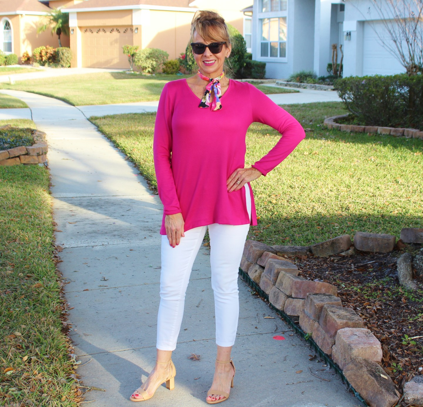 Pink Sweater + Skinny Neck Scarf + White Cropped Denim+ Sarah Flint Sandals