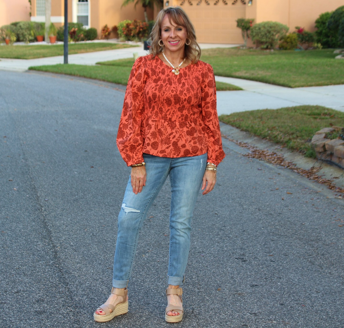 Smocked Blouse+ Deconstructed Jeggings