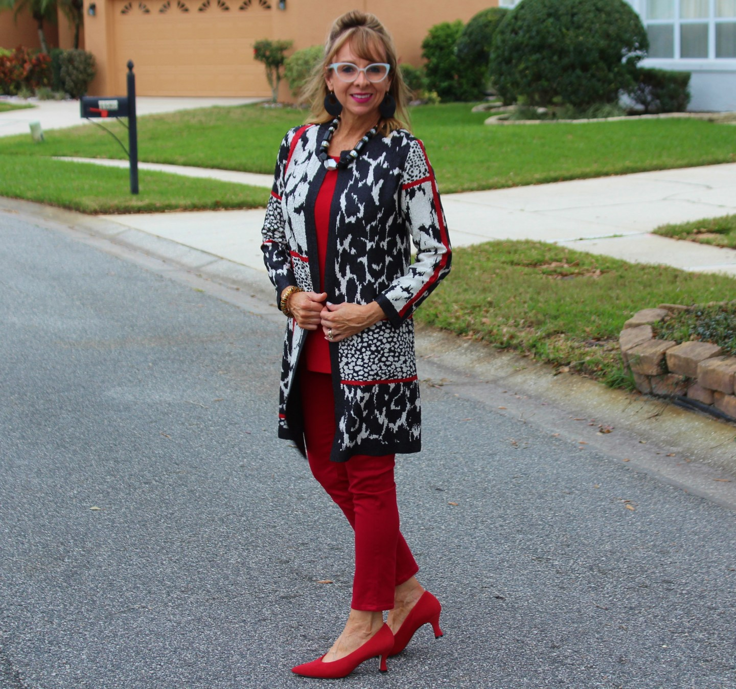 Chicos Reversible Jacket + Faux leather leggings + Red Pumps