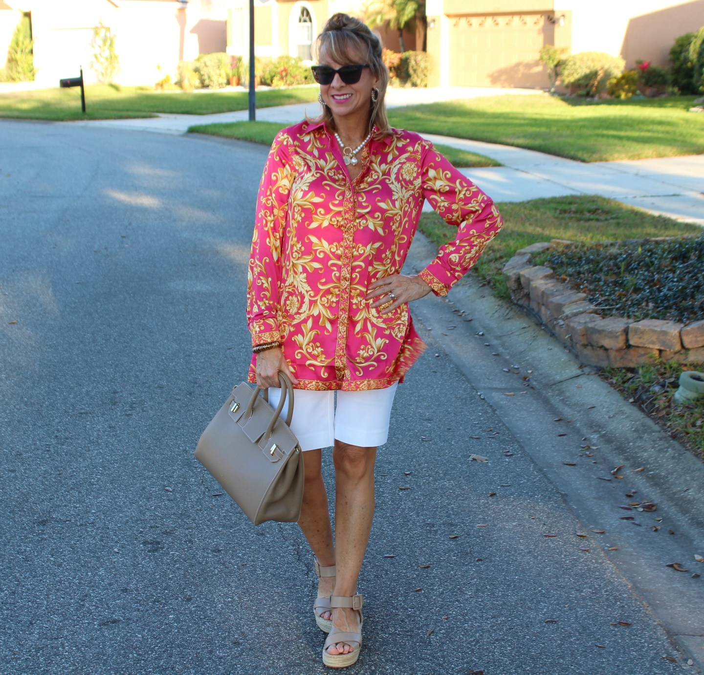 White Shorts + Pink Scroll Tunic Top