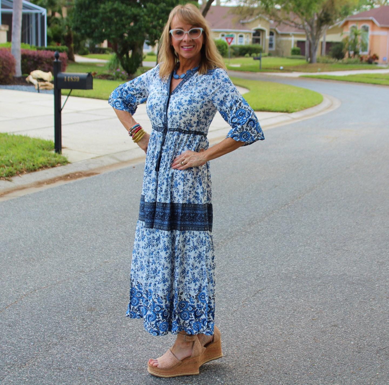 Floral button up sun dress
