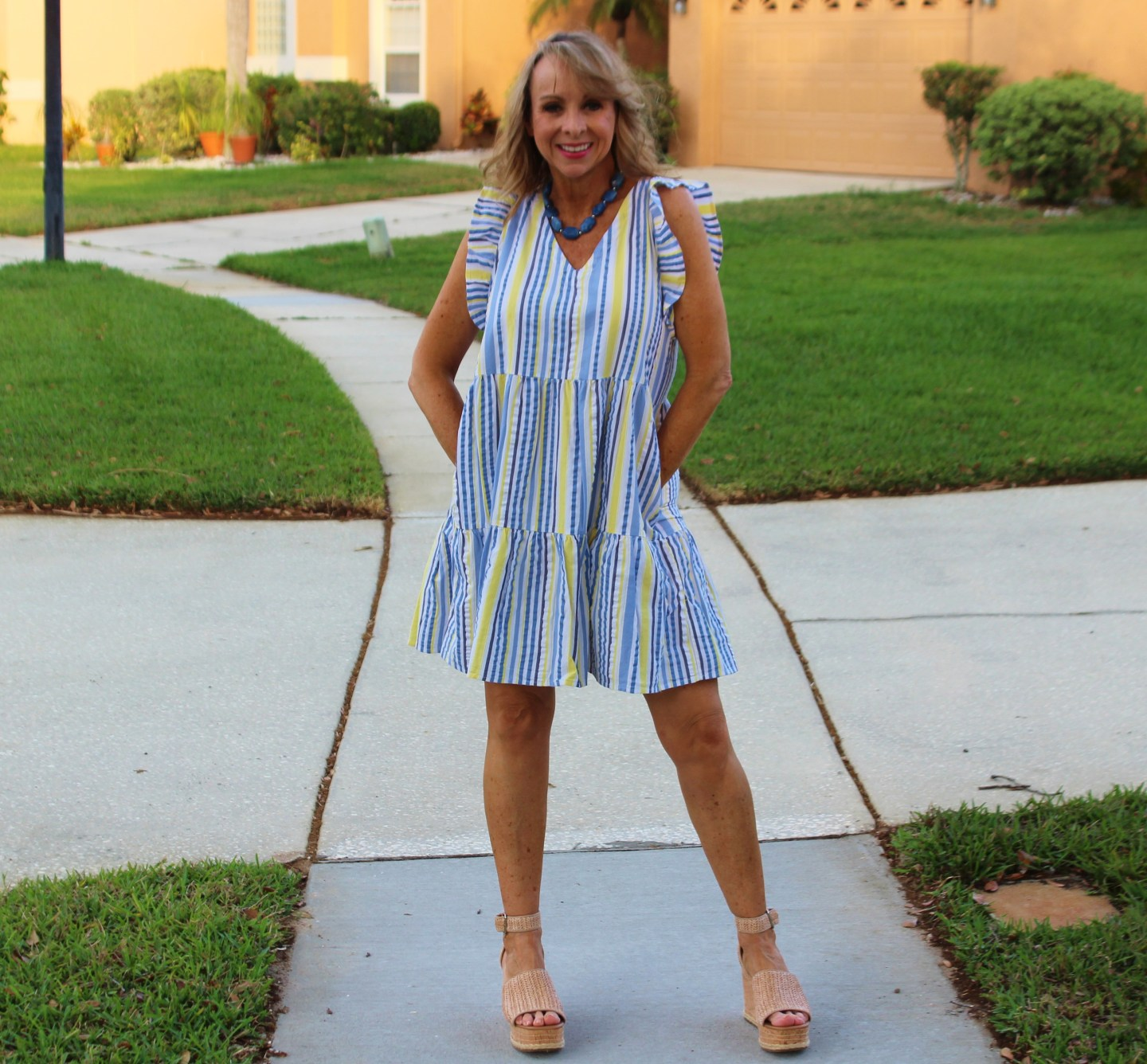 Striped, tiered Dress with ruffle Sleeve