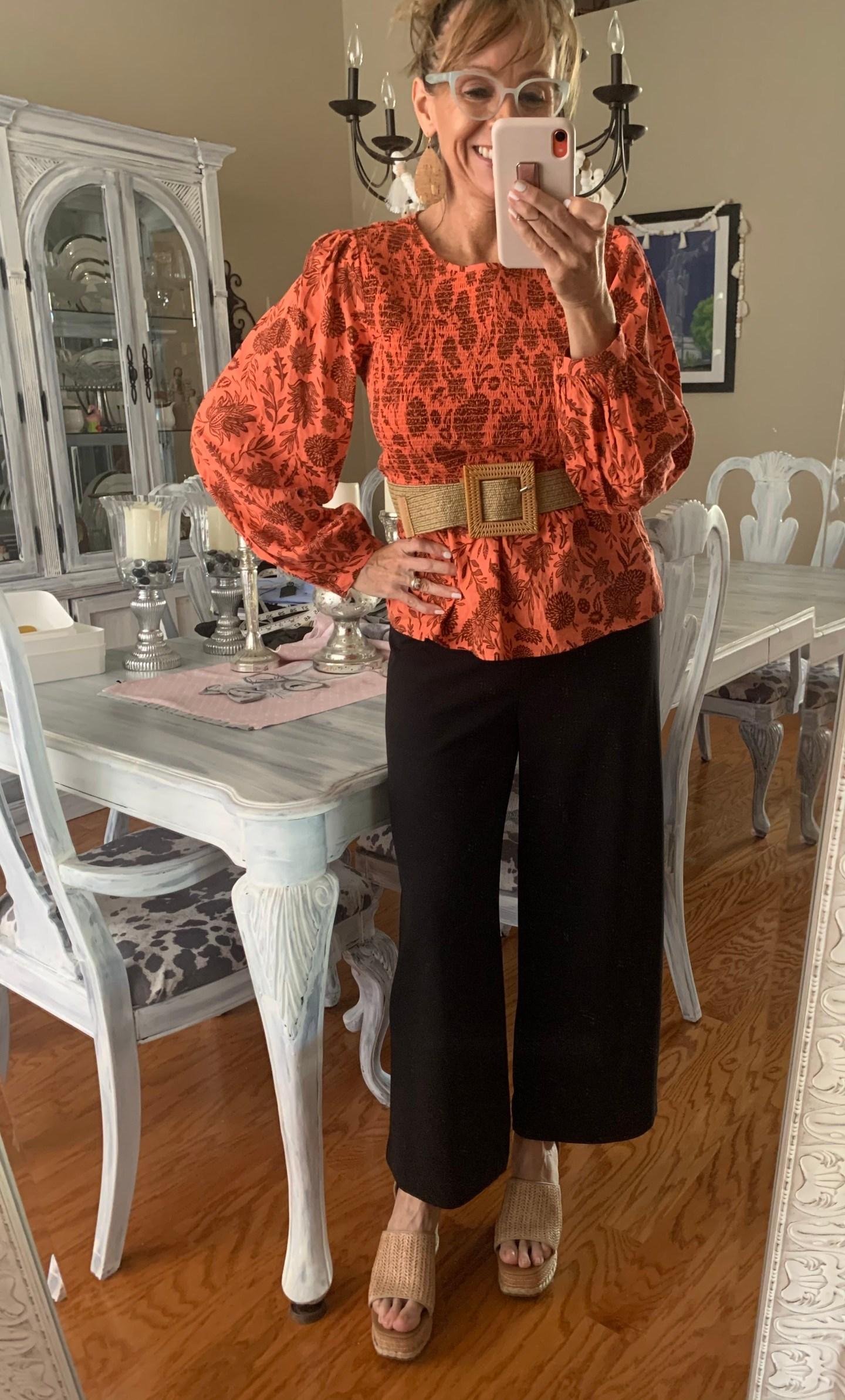 Smocked Top + Woven Belt + Wide Leg Pants + Cork Wedges