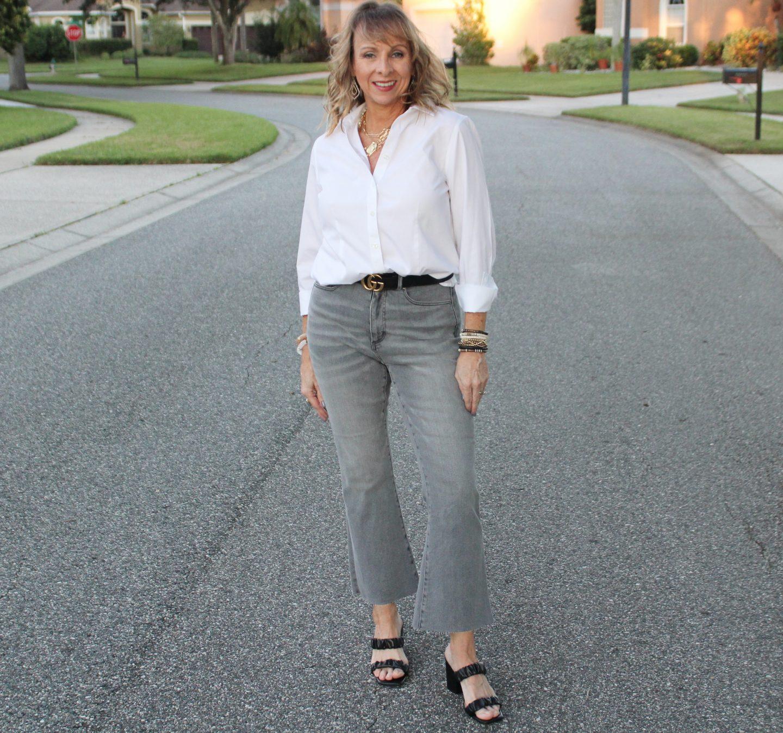 White Shirt + Grey Denim + Gucci Belt