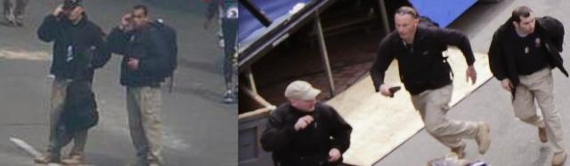 Images of suspected Craft International security personnel before (l) and after (r) explosions at the marathon. Note similar attire and backpacks to what the Tsarnaev brothers had)