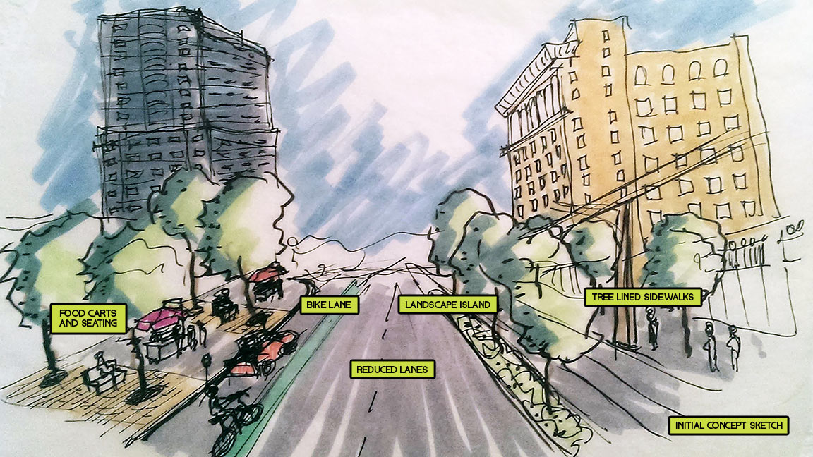 Concept sketch street redesign