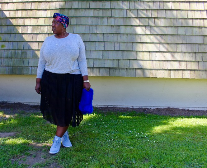Plus Size Outfit, Outfit of the Day, Torrid, Who What Wear, Nike, Zoe Vintique, Eyelet Skirt, Grey Sweater, Plus Size Fashion, Fashion, Plus Size Style, Jordan's, Plus Size, This Curvy Girls Life, Jana'e Michelle