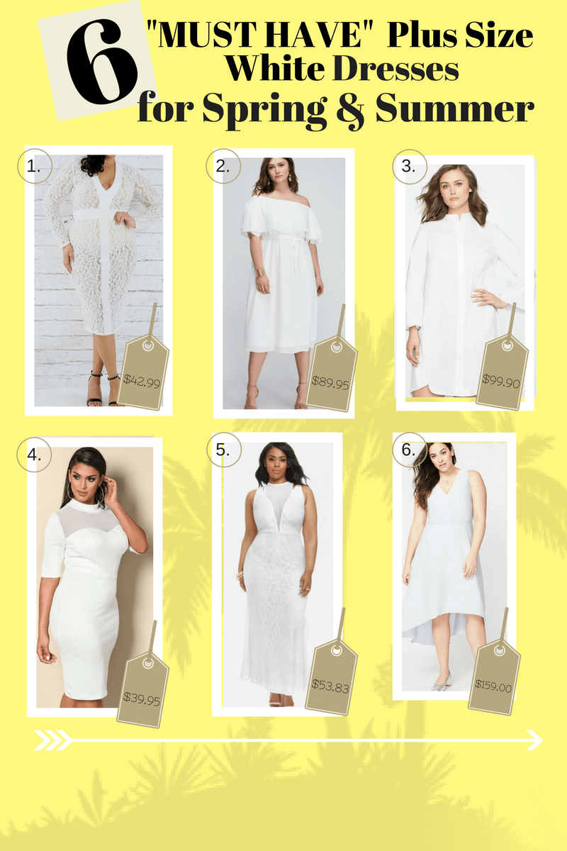 """""""6"""" Plus Size White Dresses for Spring and Summer"""