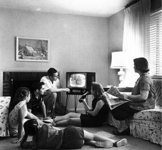 Family Watching TV, 1950s
