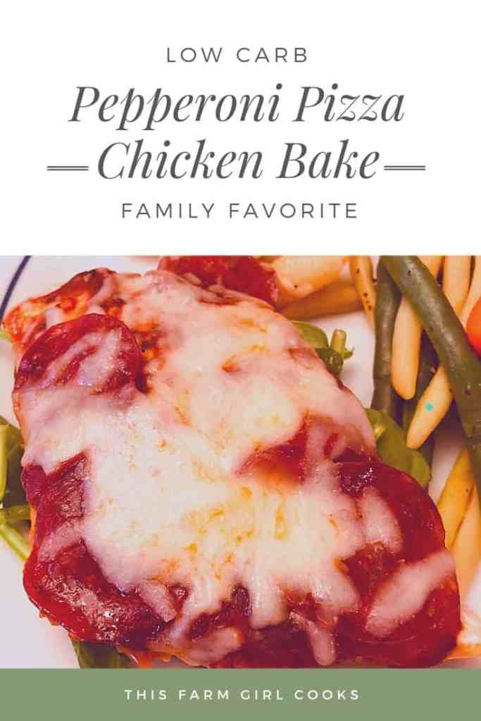low carb pepperoni pizza chicken bake