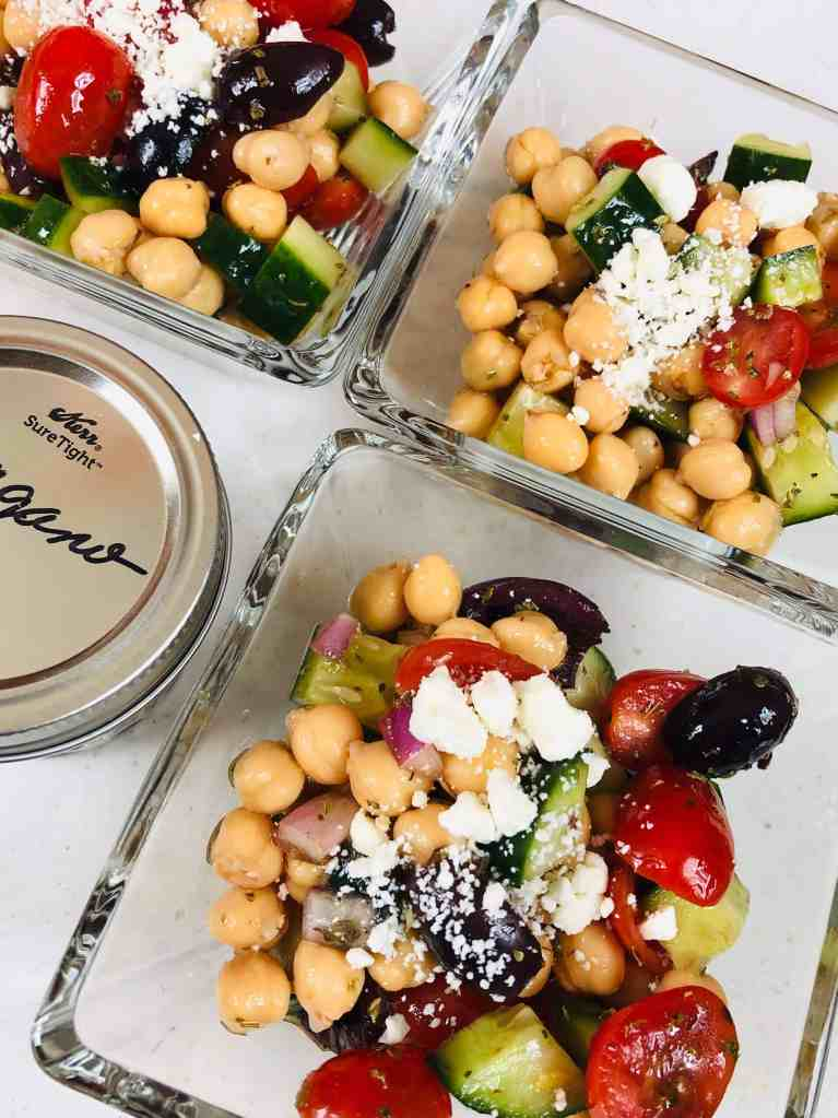 Mediterranean chopped salad trio