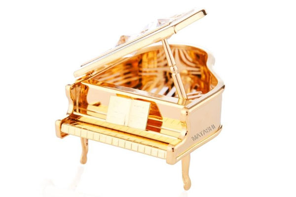 gifts for piano lovers gold plated piano