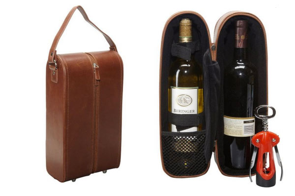 leather gifts for him wine case
