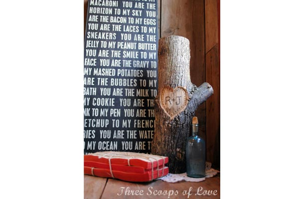handmade gifts for husband birthday tree log with initial