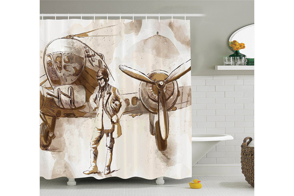 shower curtain for airplane lover