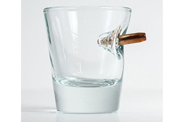 whisky gifts for him whiskey glass with real bullet