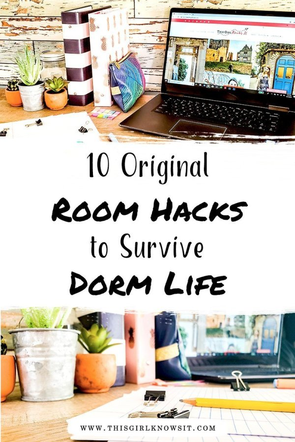 10 Original Dorm Room Hacks to Survive College Dorm Life | Heading back to school and looking for some dorm room hacks to save you money and make living on campus a bit easier? Then check out this post from This Girl Knows It for 10 original dorm room hacks! | #college #university #dorm #apartment #residencehall #collegelife #collegehack