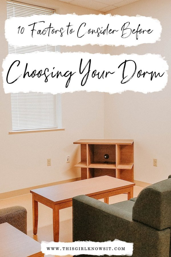 Ten Factors to Consider Before Choosing Your Dorm   Soon, many students will begin applying for housing for the next academic year. While this is very exciting for many students, there are many factors a student should take into consideration when choosing their dorm, just as there were many factors to consider when picking a college. This post (Ten Factors to Consider Before Choosing Your Dorm) gives a list of ten factors that every student living on-campus should take into consideration when choosing a dorm.   #college #university #dorm #dormroom #freshmanyear   www.thisgirlknowsit.com   This Girl Knows It