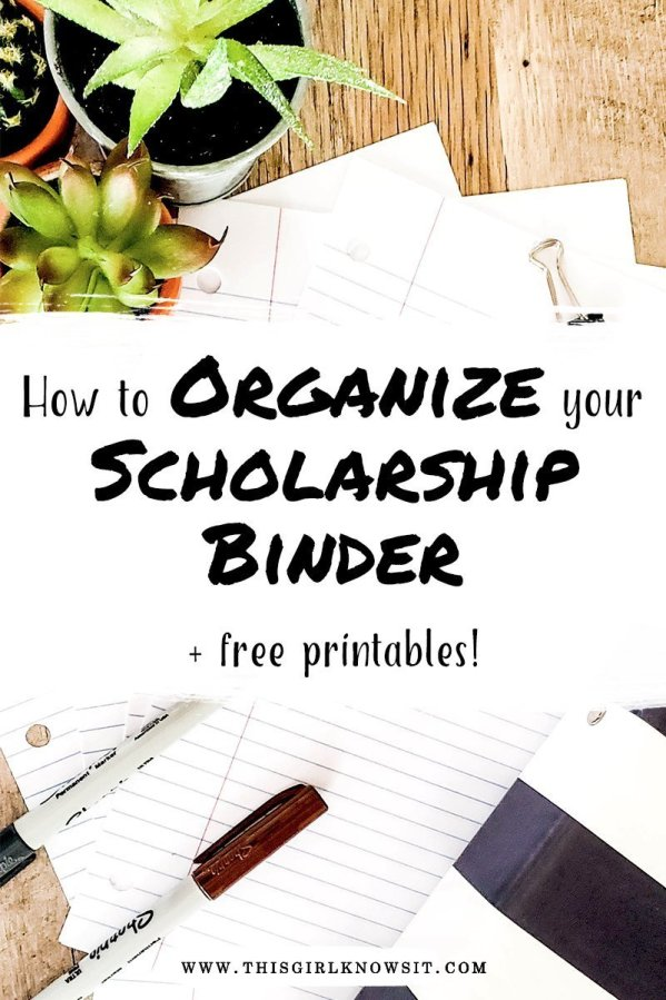 How to Organize Your Scholarship Binder (plus free printables) | Scholarships are a great way to offset the price of college, but students can become easily overwhelmed and disorganized due to the large number of application he/she may need to submit. This post reveals how to organize your scholarship binder with 5 FREE printables that I created and to help you stay organized during the application process. | #college #univeristy #scholarship #financialaid #scholarshipbinder #organization
