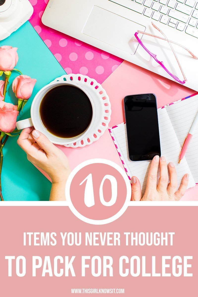 Lots gets left behind when packing for college, but some items you probably never even thought to pack at all! Check out this post for the 10 items you never thought to pack for college. #college #packing #senioryear #dorms #university