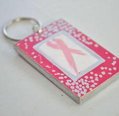 Breast Cancer Ribbon Key Chain