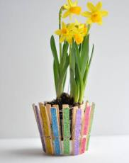Glittered Clothespins Pot
