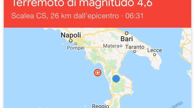All'alba forte scossa di terremoto in provincia di Cosenza. La terra trema anche ad Acri