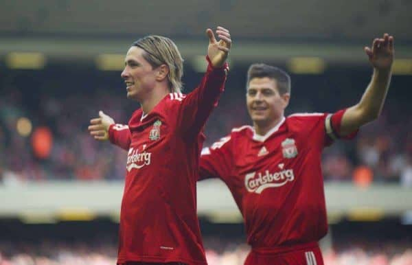 LIVERPOOL, ENGLAND - Sunday, March 28, 2010: Liverpool's Fernando Torres celebrates scoring a spectacular opening goal with team-mate and captain Steven Gerrard MBE against Sunderland during the Premiership match at Anfield. (Photo by: David Rawcliffe/Propaganda)