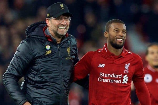 LIVERPOOL, ENGLAND - Sunday, December 2, 2018: Liverpool's manager J¸rgen Klopp and Georginio Wijnaldum celebrate after a dramatic late injury time victory during the FA Premier League match between Liverpool FC and Everton FC at Anfield, the 232nd Merseyside Derby. Liverpool won 1-0. (Pic by Paul Greenwood/Propaganda)