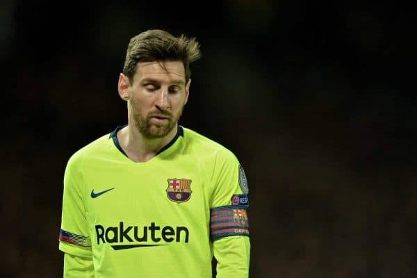 MANCHESTER, ENGLAND - Thursday, April 11, 2019: Barcelona's captain Lionel Messi, with a cut to his nose, during the UEFA Champions League Quarter-Final 1st Leg match between Manchester United FC and FC Barcelona at Old Trafford. Barcelona won 1-0. (Pic by David Rawcliffe/Propaganda)