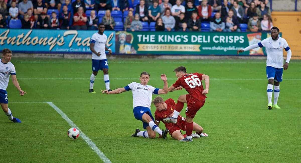 BIRKENHEAD, ENGLAND - Thursday, July 11, 2019: Liverpool's Bobby Duncan scores the sixth goal during a pre-season friendly match between Tranmere Rovers FC and Liverpool FC at Prenton Park. (Pic by David Rawcliffe/Propaganda)