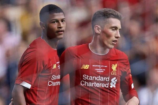 BRADFORD, ENGLAND - Saturday, July 13, 2019: Liverpool's Rhian Brewster (L) celebrates scoring the third goal with team-mate Harry Wilson during a pre-season friendly match between Bradford City AFC and Liverpool FC at Valley Parade. (Pic by David Rawcliffe/Propaganda)