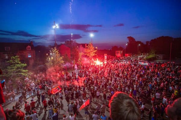 LIVERPOOL, ENGLAND - Thursday, June 25, 2020: Liverpool supporters set off flares as they celebrate at Anfield after their side were crowned Premier League Champions following Manchester City's defeat by Chelsea. The supporters have waited 30 years for this their 19th Championship title. (Pic by David Rawcliffe/Propaganda)