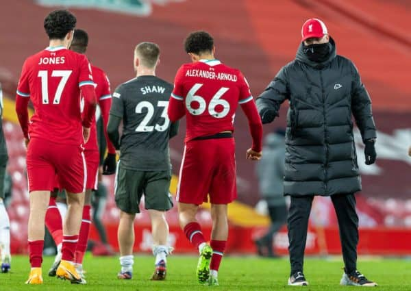 LIVERPOOL, ENGLAND - Sunday, January 17, 2021: Liverpool's manager Jürgen Klopp (R) with Trent Alexander-Arnold after the FA Premier League match between Liverpool FC and Manchester United FC at Anfield. The game ended in a 0-0 draw. (Pic by David Rawcliffe/Propaganda)