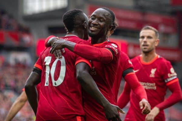 LIVERPOOL, ENGLAND - Saturday, August 21, 2021: Liverpool's Sadio Mané (#10) celebrates with team-mate Naby Keita (R) after scoring the second goal during the FA Premier League match between Liverpool FC and Burnley FC at Anfield. Liverpool won 2-0. (Pic by David Rawcliffe/Propaganda)