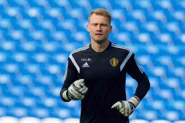 CARDIFF, WALES - Thursday, June 11, 2015: Belgium and Liverpool goalkeeper Simon Mignolet during a training session at the Cardiff City Stadium ahead of the UEFA Euro 2016 Qualifying Round Group B match against Wales. (Pic by David Rawcliffe/Propaganda)