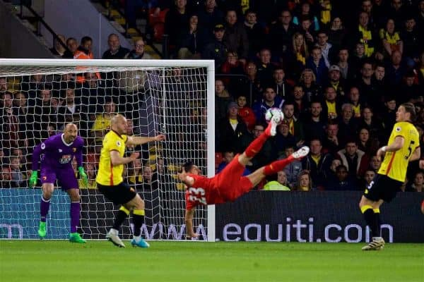 WATFORD, ENGLAND - Monday, May 1, 2017: Liverpool's Emre Can scores the first goal against Watford with an overhead scissor kick during the FA Premier League match at Vicarage Road. (Pic by David Rawcliffe/Propaganda)