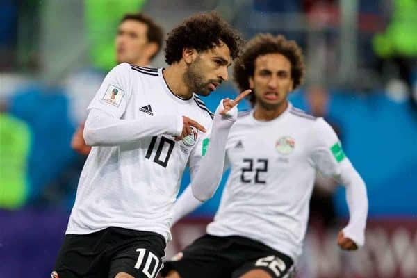 SAINT PETERSBURG, RUSSIA - Sunday, June 17, 2018: Egypt's Mohamed Salah celebrates after scoring the first goal from a penalty kick during the FIFA World Cup Russia 2018 Group A match between Russia and Egypt at the Saint Petersburg Stadium. (Pic by David Rawcliffe/Propaganda)