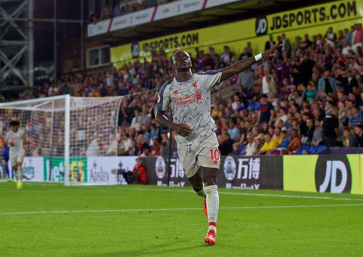 LONDON, ENGLAND - Monday, August 20, 2018: Liverpool's Sadio Mane celebrates scoring the second goal during the FA Premier League match between Crystal Palace and Liverpool FC at Selhurst Park. (Pic by David Rawcliffe/Propaganda)