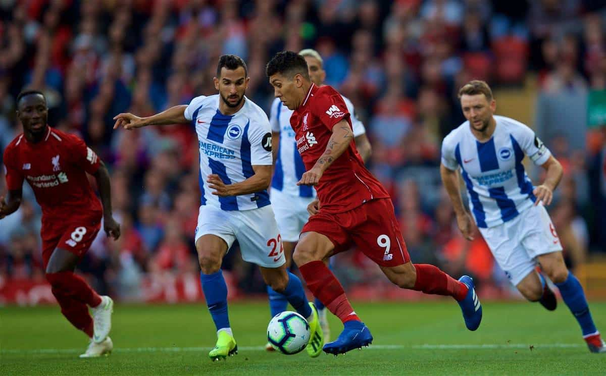 LIVERPOOL, ENGLAND - Saturday, August 25, 2018: Brighton & Hove Albion's MartÌn Montoya (left) and Liverpool's Roberto Firmino (right) during the FA Premier League match between Liverpool FC and Brighton & Hove Albion FC at Anfield. (Pic by David Rawcliffe/Propaganda)