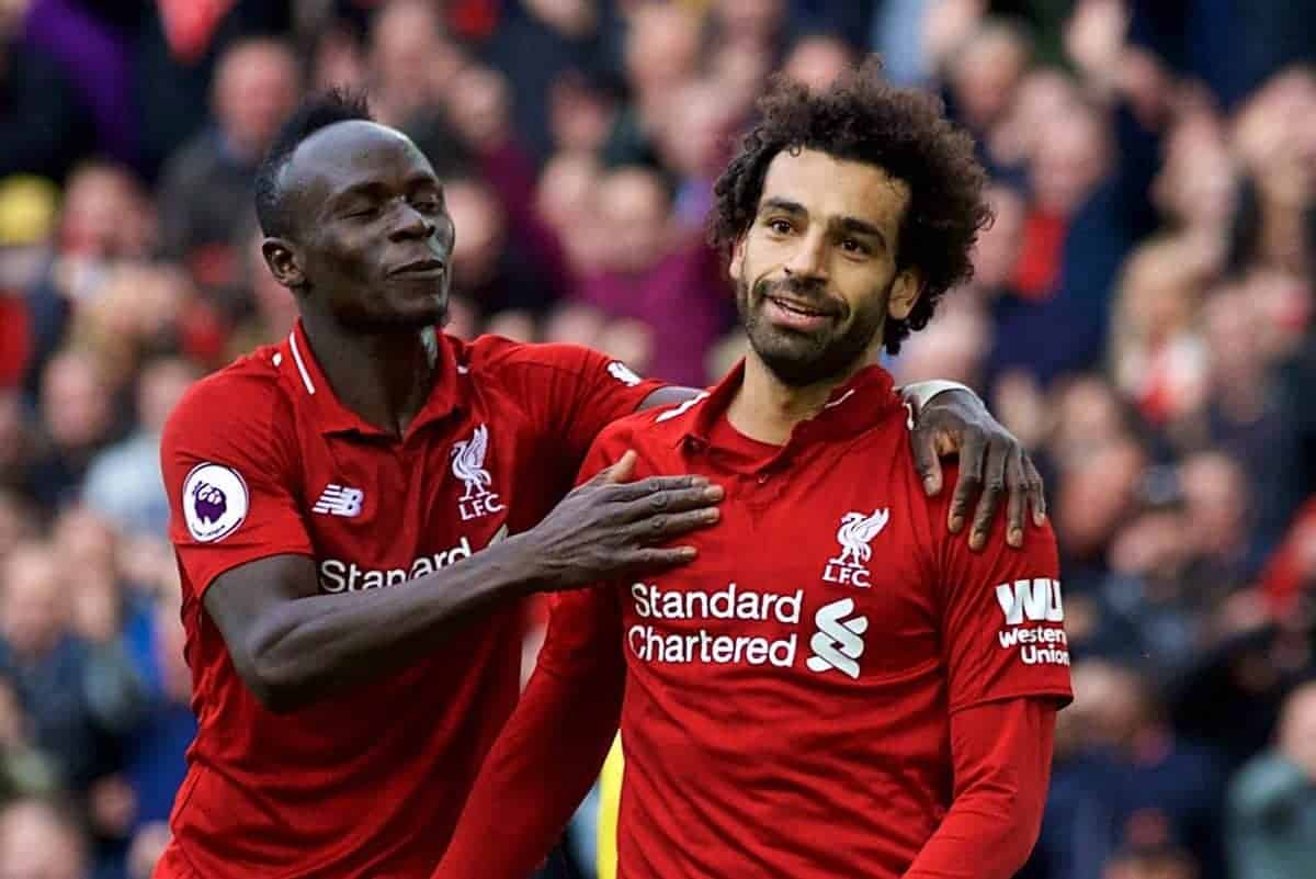 LIVERPOOL, ENGLAND - Saturday, September 22, 2018: Liverpool's Mohamed Salah (right) celebrates with Sadio Mane only to see his goal disallowed during the FA Premier League match between Liverpool FC and Southampton FC at Anfield. (Pic by Jon Super/Propaganda)