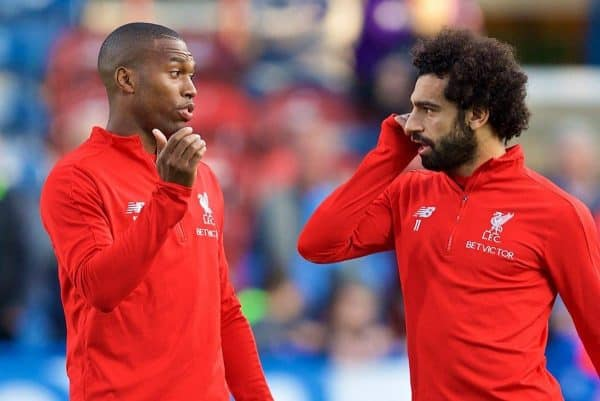 HUDDERSFIELD, ENGLAND - Saturday, October 20, 2018: Liverpool's Daniel Sturridge (L) and Mohamed Salah (R) during the pre-match warm-up before the FA Premier League match between Huddersfield Town FC and Liverpool FC at Kirklees Stadium. (Pic by David Rawcliffe/Propaganda)