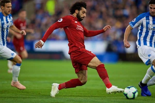 HUDDERSFIELD, ENGLAND - Saturday, October 20, 2018: Liverpool's Mohamed Salah scores the first goal during the FA Premier League match between Huddersfield Town FC and Liverpool FC at Kirklees Stadium. (Pic by David Rawcliffe/Propaganda)