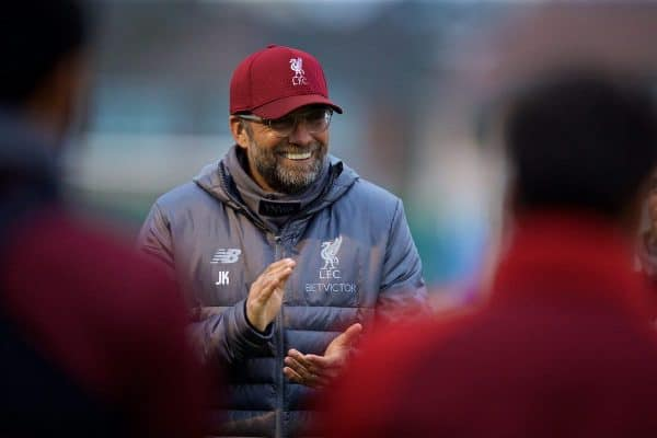 LIVERPOOL, ENGLAND - Tuesday, October 23, 2018: Liverpool's manager Jürgen Klopp during a training session at Melwood Training Ground ahead of the UEFA Champions League Group C match between Liverpool FC and FK Crvena zvezda (Red Star Belgrade). (Pic by David Rawcliffe/Propaganda)
