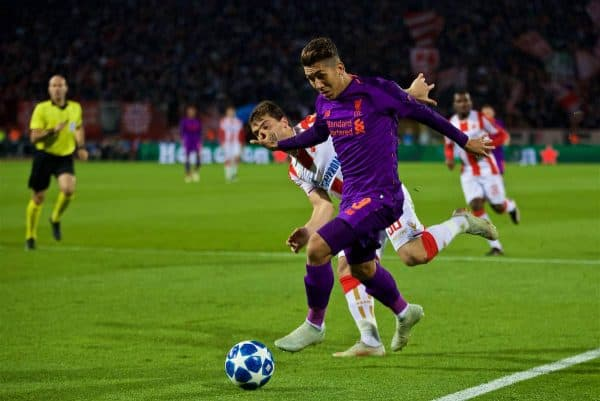 BELGRADE, SERBIA - Tuesday, November 6, 2018: Liverpool's Roberto Firmino during the UEFA Champions League Group C match between FK Crvena zvezda (Red Star Belgrade) and Liverpool FC at Stadion Rajko Miti?. (Pic by David Rawcliffe/Propaganda)