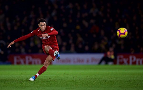 WATFORD, ENGLAND - Saturday, November 24, 2018: Liverpool's Trent Alexander-Arnold scores the second goal during the FA Premier League match between Watford FC and Liverpool FC at Vicarage Road. (Pic by David Rawcliffe/Propaganda)