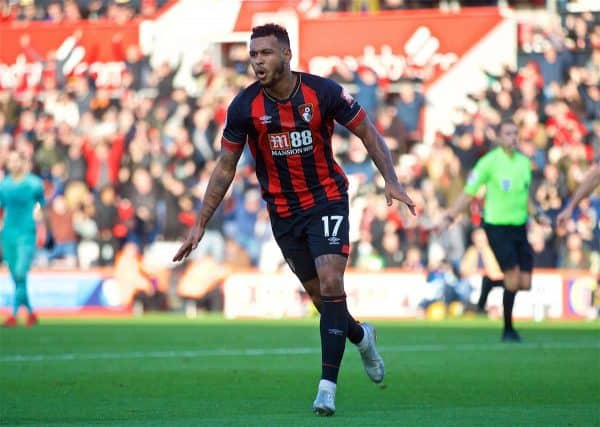 BOURNEMOUTH, ENGLAND - Sunday, November 25, 2018: AFC Bournemouth's Joshua King celebrates scoring the equalising first goal during the FA Premier League match between AFC Bournemouth and Arsenal FC at the Vitality Stadium. (Pic by David Rawcliffe/Propaganda)